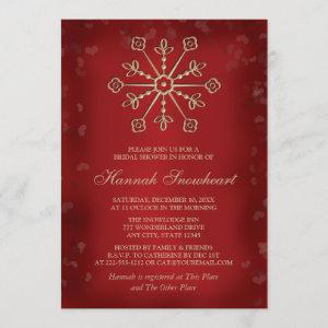 RED AND GOLD SNOWFLAKE BRIDAL SHOWER INVITATION starting at 2.66