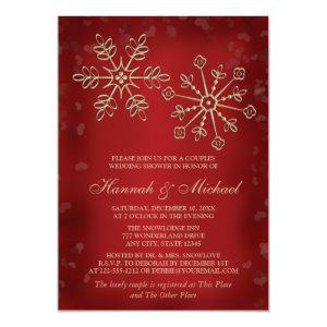 RED AND GOLD SNOWFLAKE COUPLES WEDDING SHOWER INVITATION starting at 2.66