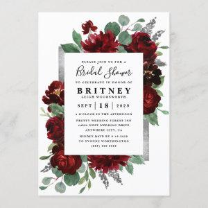 Red and Silver Country Burgundy Rose Bridal Shower Invitation starting at 2.25