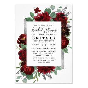 Red and Silver Country Burgundy Rose Bridal Shower Invitation starting at 2.00