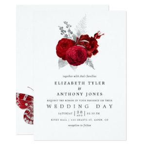 Red and Silver Vintage Rose Wedding Invitation starting at 2.66