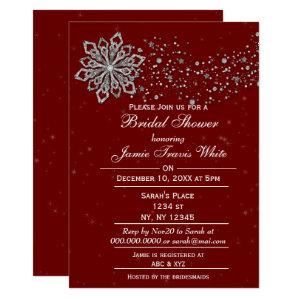 red and Silver Winter Bridal shower invite starting at 2.50