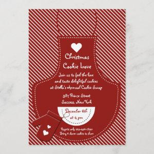 Red Apron Cookie Exchange Party Invitation starting at 2.56