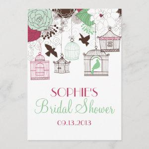 Red Birdcages & Flowers Bridal Shower Invitations starting at 2.51