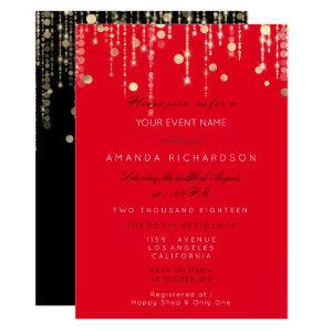 Red Black  Gold Drips Birthday Bridal Shower Invitation starting at 2.10