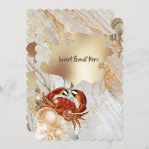 Red crab marble gold liquid elegant party chic invitation starting at 2.65