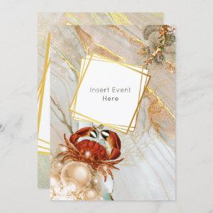 Red crab marble gold marine sea life party invitation starting at 2.40