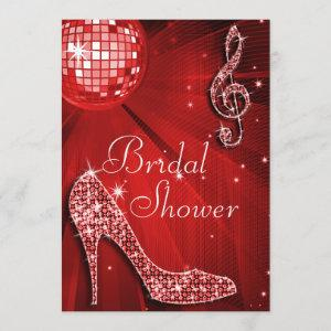 Red Disco Ball and Sparkle Heels Bridal Shower Invitation starting at 2.77