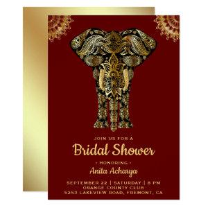 Red Gold Elephant Indian Bridal Shower Invitation starting at 2.45