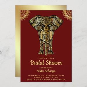 Red Gold Elephant Indian Bridal Shower Invitation starting at 2.55