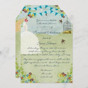 Red Head Bridal Shower Birdcage Bunting Invite starting at 3.50