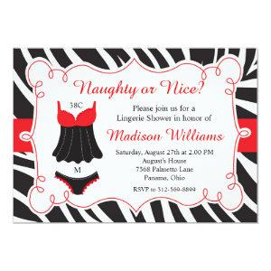 Red Naughty or Nice Lingerie Bridal Shower Invitation starting at 2.66