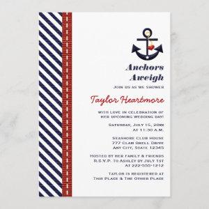 Red Navy Blue Nautical Bridal Shower Invitations starting at 2.66