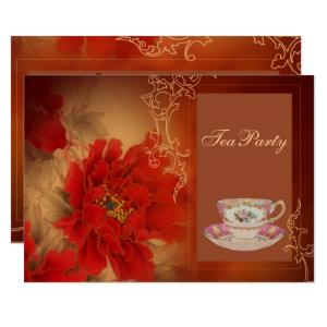 Red Peony Chinese bridal shower tea party Invitation starting at 2.77
