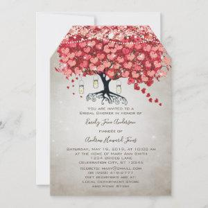 Red Pink Silver Woodsy Heart Leaf Bridal Shower Invitation starting at 4.15