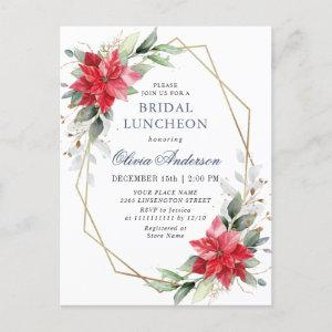 Red Poinsettia Floral BRIDAL LUNCHEON Invitations starting at 1.25