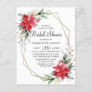 Red Poinsettia Floral Bridal Shower Invitations starting at 1.25