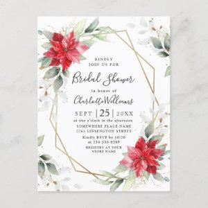 Red Poinsettia Floral Bridal Shower Invitations starting at 1.15