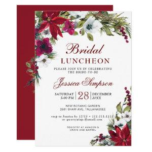 Red Poinsettia Floral Christmas Bridal Luncheon Invitation starting at 2.35