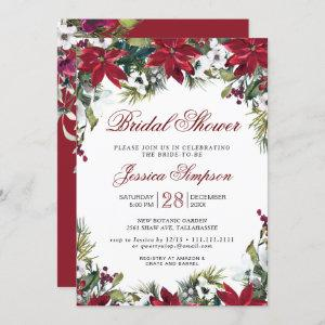Red Poinsettia Floral Christmas Bridal Shower Invitation starting at 2.35