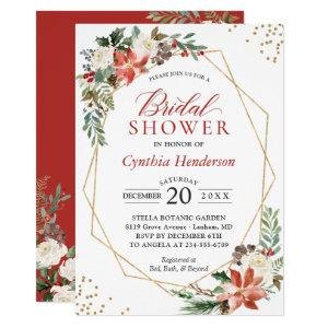 Red Poinsettia Floral Christmas Bridal Shower Invitation starting at 2.30