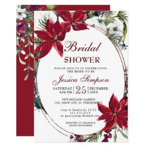 Red Poinsettia Floral Christmas Bridal Shower Invitation starting at 2.10