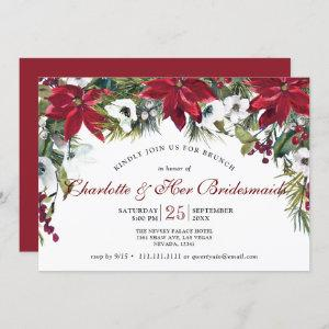 Red Poinsettia Floral Christmas Bridesmaids Brunch Invitation starting at 2.35