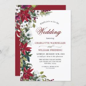 Red Poinsettia Floral Christmas Watercolor Wedding Invitation starting at 2.35