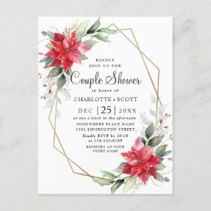 Red Poinsettia Floral Couple Shower Invitations starting at 1.25