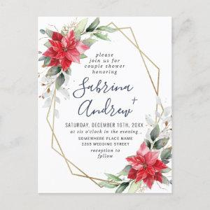 Red Poinsettia Floral Couple Shower Postcard starting at 1.25