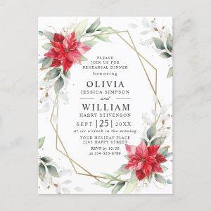 Red Poinsettia Floral REHEARSAL DINNER Invitations starting at 1.15