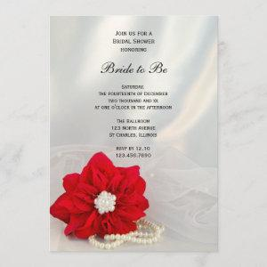 Red Poinsettia White Pearls Winter Bridal Shower Invitation starting at 2.60