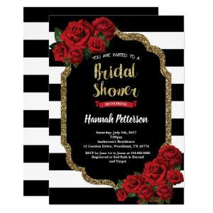 Red rose bridal shower invitation black and gold starting at 2.40