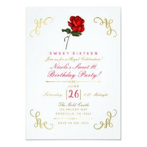Red Rose Floral Gold Corners Sweet 16 Party Invitation starting at 2.82