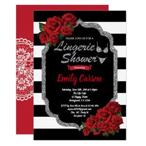 Red rose lingerie shower black and silver invitation starting at 2.25