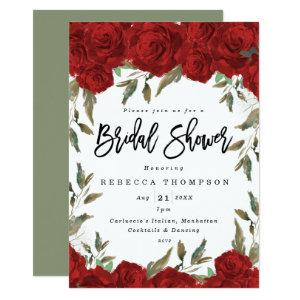 red roses & greenery boho modern bridal shower invitation starting at 2.56