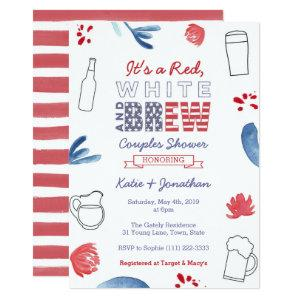 Red White and Brew Couples Shower Engagement Party Invitation starting at 2.66