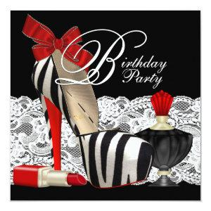 Red Zebra High Heel Shoes Black Red Zebra Party Invitation starting at 2.51
