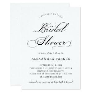 Refined Black and White Calligraphy Bridal Shower Invitation starting at 2.66