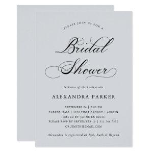 Refined | Calligraphy on Soft Gray Bridal Shower Invitation starting at 2.66