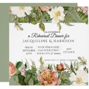 Rehearsal Dinner | Sage Green Ivory Rose Floral Invitation starting at 2.40