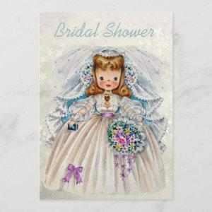 Retro Bride Bridal Shower Front Back Double Sided Invitation starting at 2.66