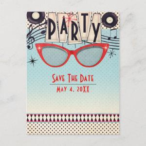 Retro Vintage 1950's Fifties Party Save the Date Announcement Postcard starting at 2.18
