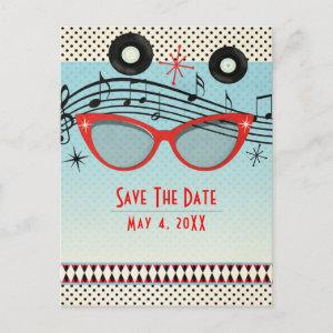 Retro Vintage 1950's Fifties Party Save the Date Announcement Postcard starting at 2.34