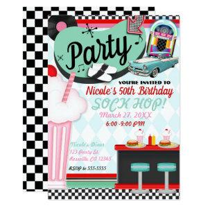 Retro Vintage 50's Fifties Diner Birthday Party Invitation starting at 2.87