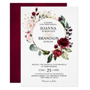 Romantic Burgundy Blush Floral Geometric Wedding Invitation starting at 2.40