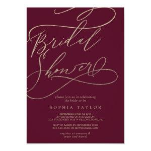 Romantic Burgundy Calligraphy Bridal Shower Invitation starting at 2.51