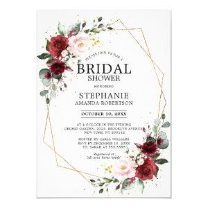 Romantic Burgundy Floral Geometric Bridal Shower Invitation starting at 2.40