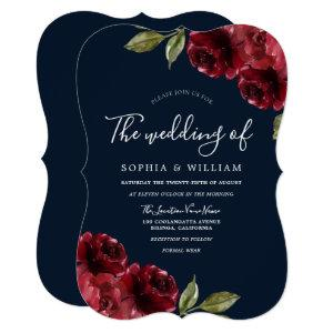 Romantic Burgundy Red Rose & Navy Blue Wedding Invitation starting at 2.65