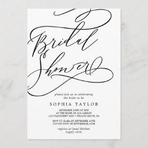 Romantic Calligraphy | Flourish Bridal Shower Invitation starting at 2.51